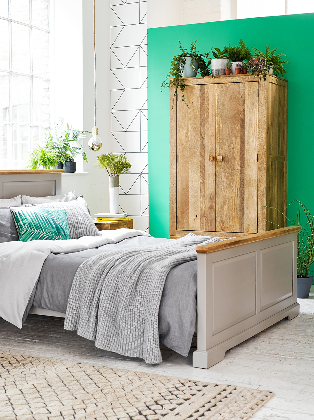 Urban Style Bedroom with Green Wall
