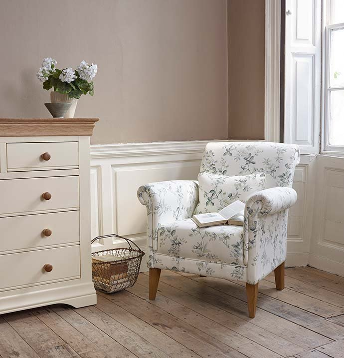 floral printed armchair and country cottage drawers