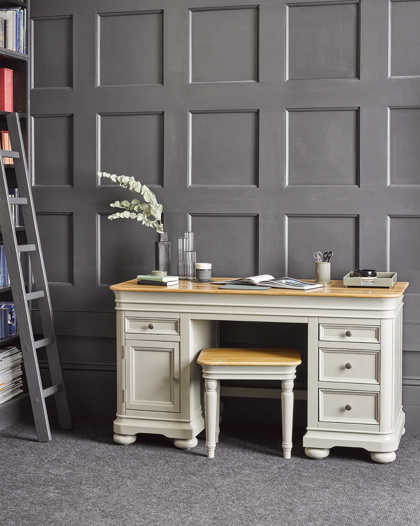 Painted desk and stool Oak Furnitureland Brindle collection