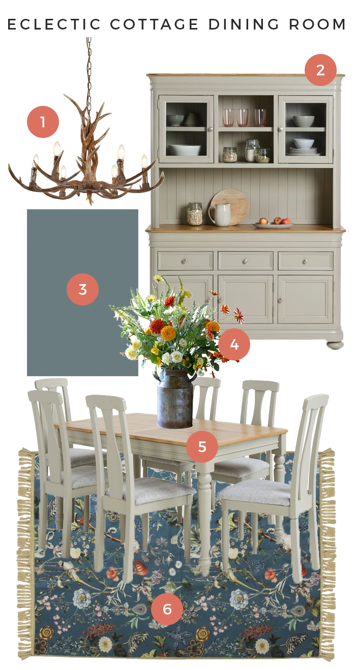 Brindle Eclectic Cottage Dining Room Moodboard