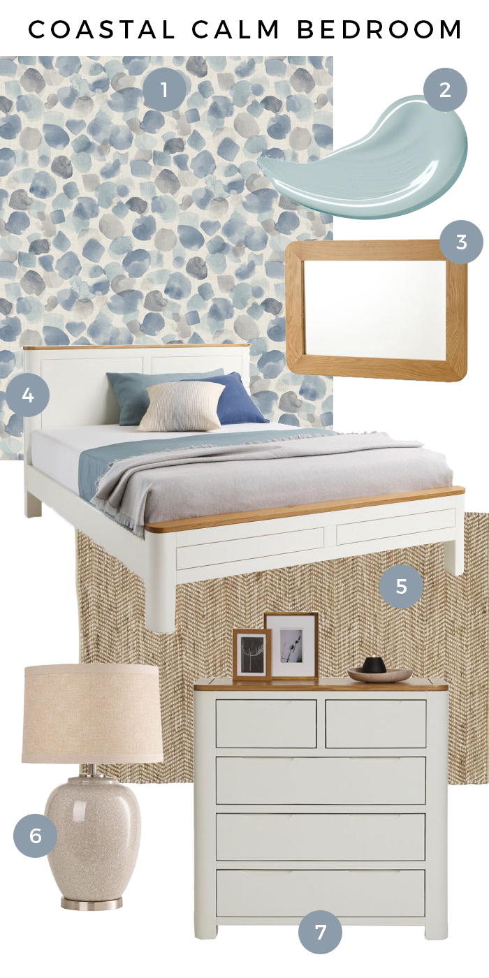 Hove Coastal Calm Bedroom Moodboard