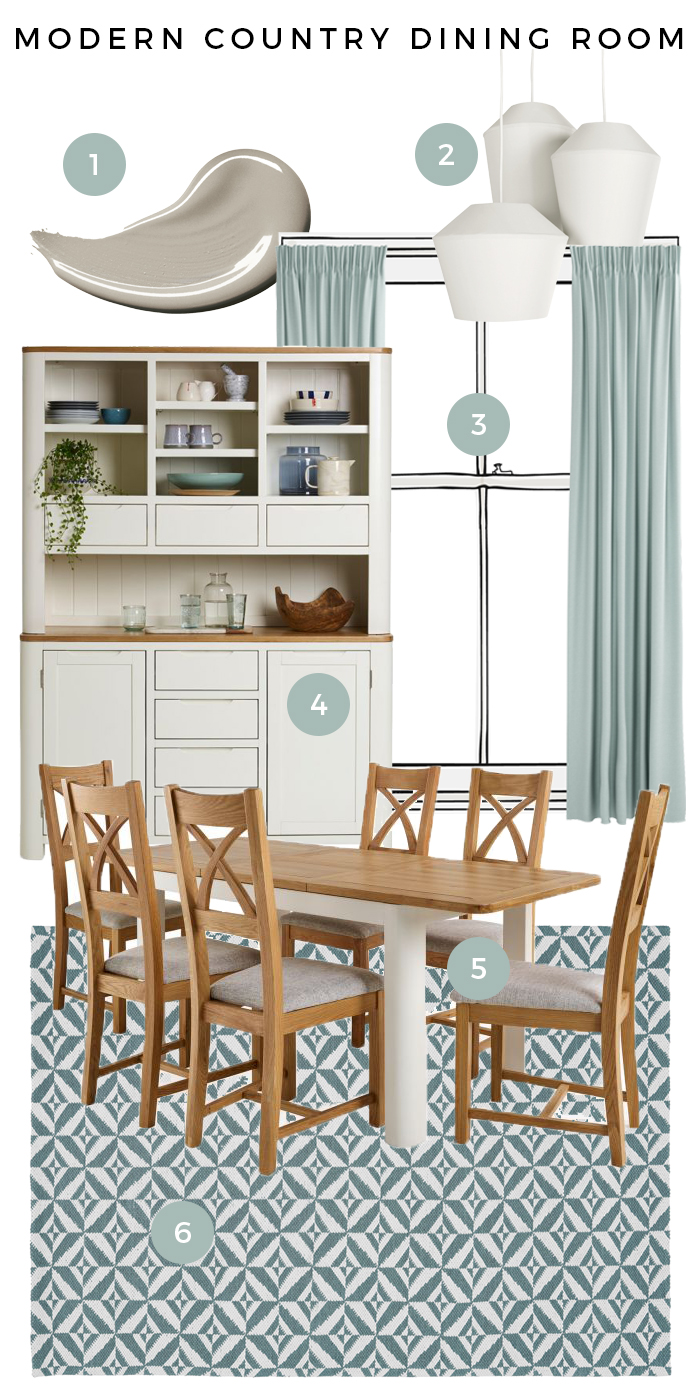 Hove Modern Country Dining Room Moodboard