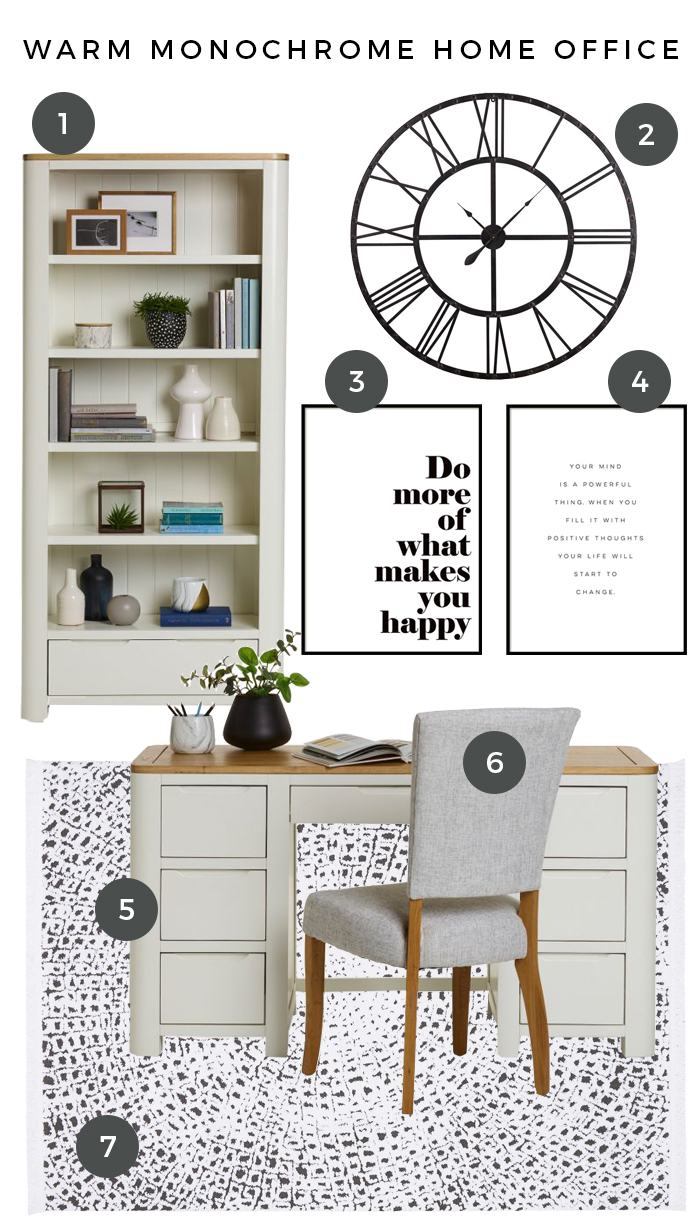 Hove Warm Monochrome Home Office Moodboard