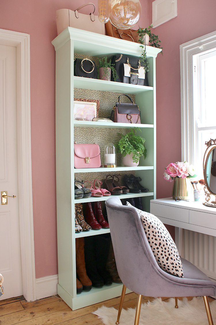 Tall bookcase vanity in dressing room