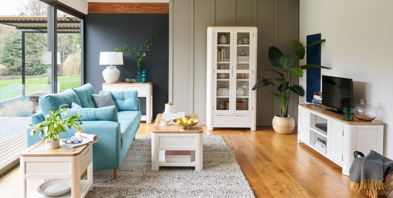 white painted coastal style living room furniture
