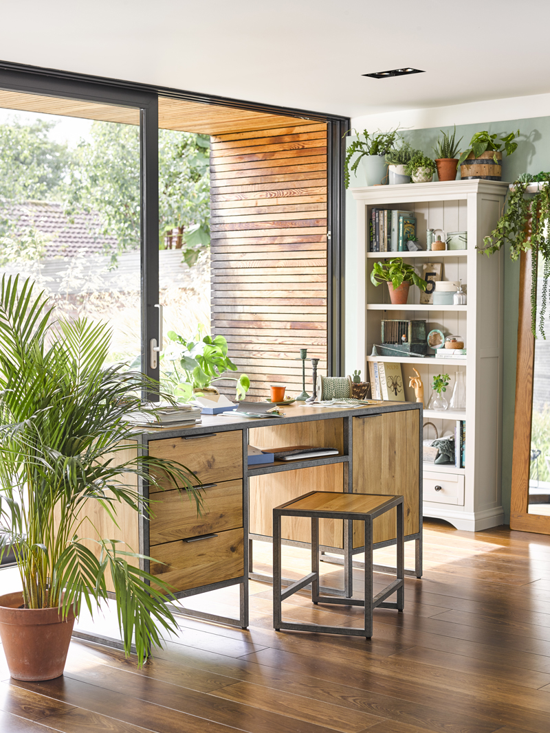 Industrial Style Office Desk in botanical home office