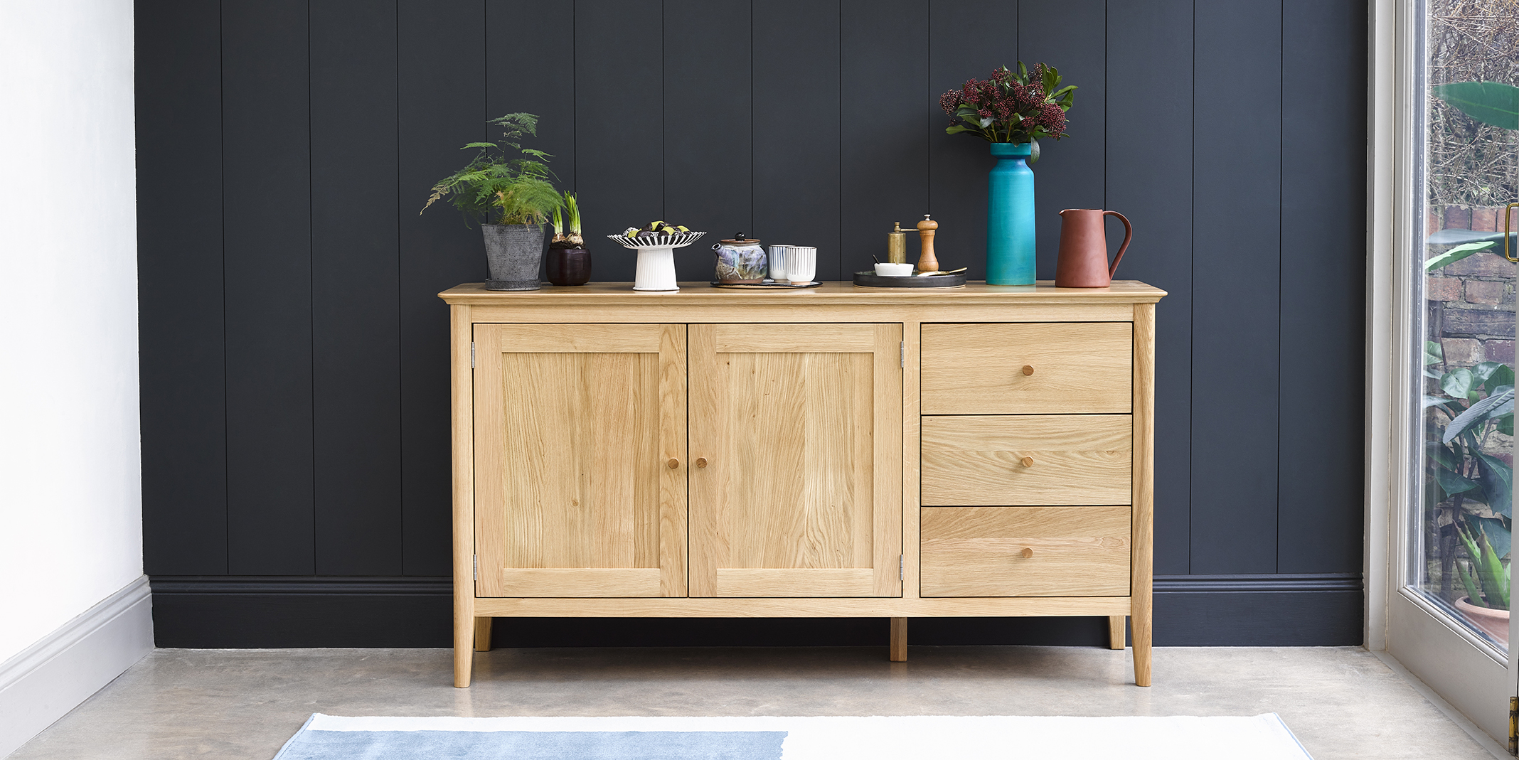Natural Oak Large Sideboard Oslo Oak Furnitureland