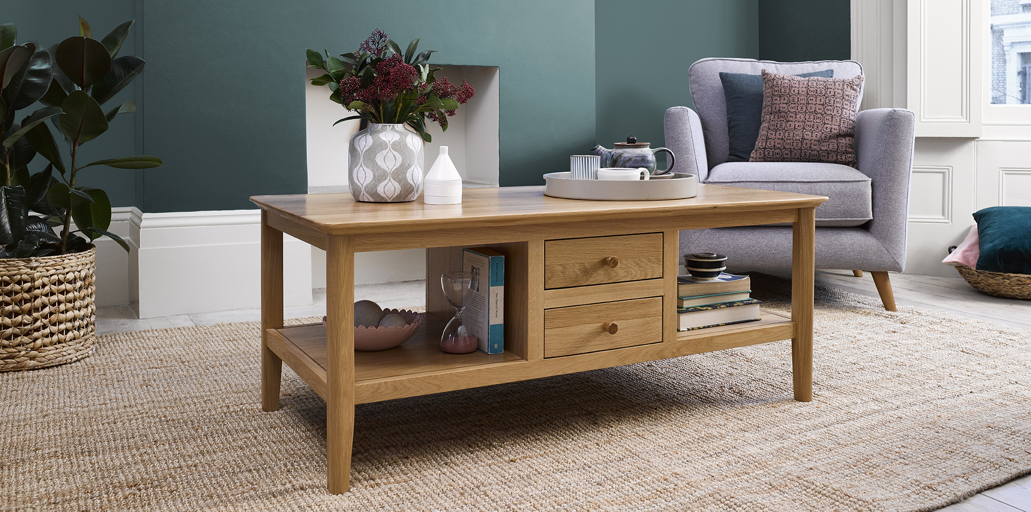 Natural oak coffee table Oslo Oak Furnitureland