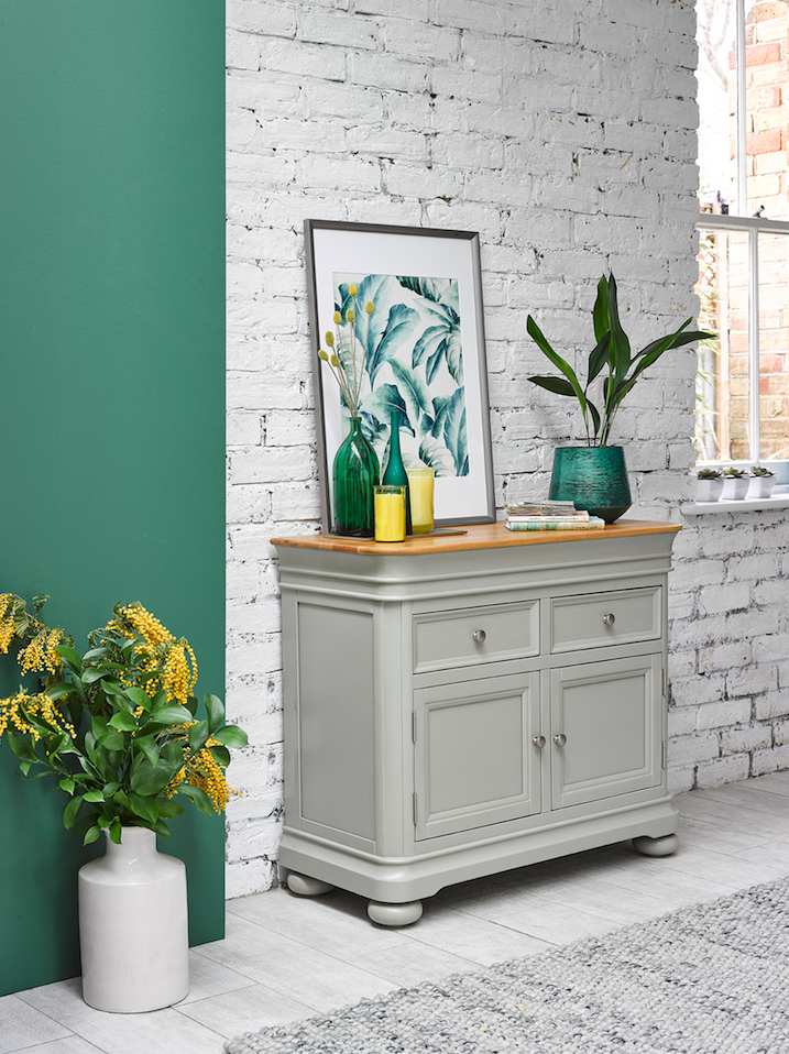 Brindle Small Sideboard Sage Grey Painted Furniture Oak Furnitureland
