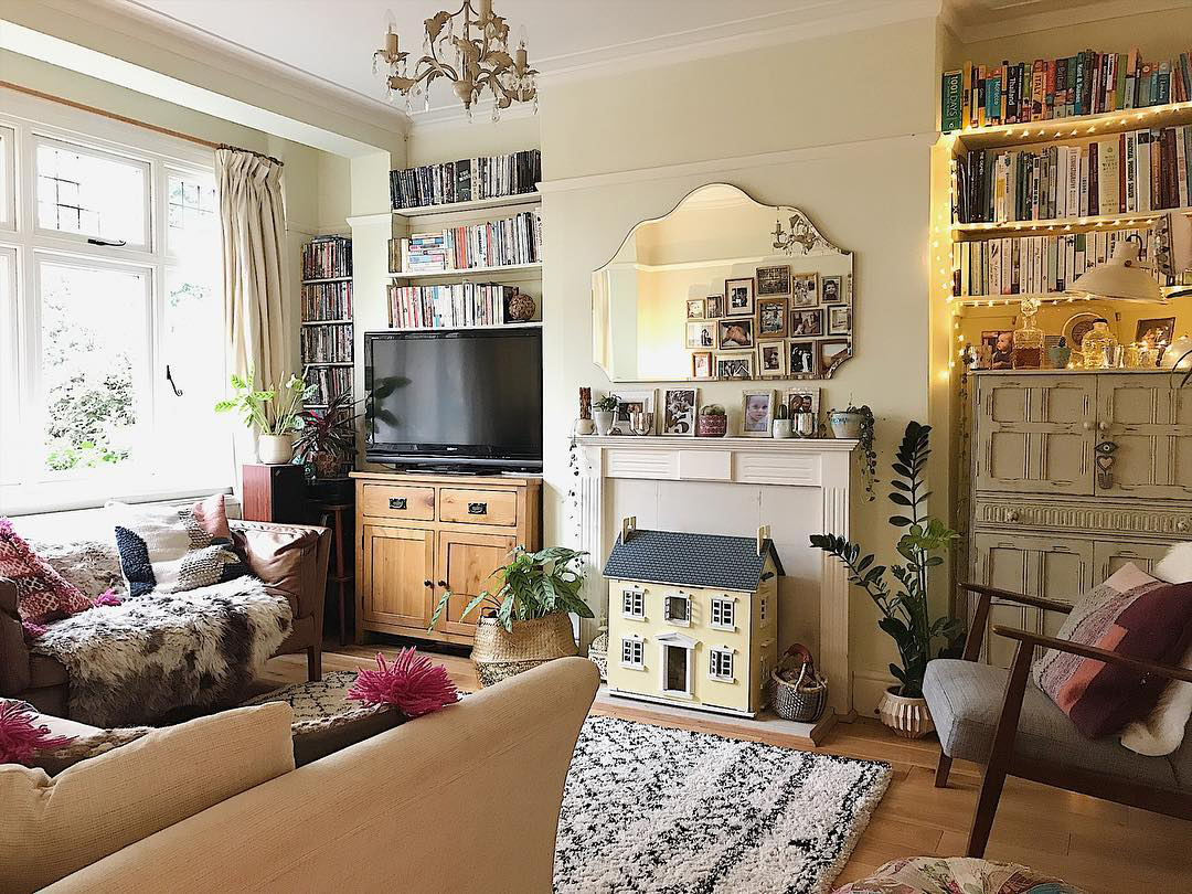 eclectic living room with busy furniture