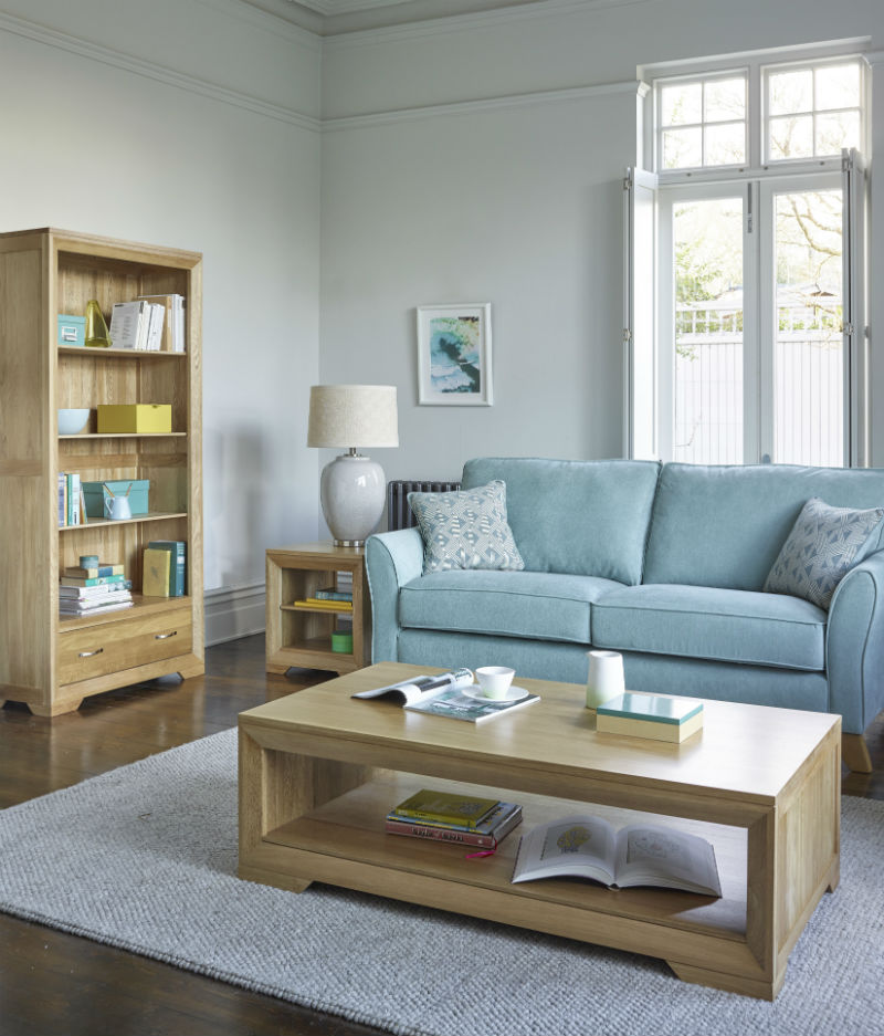 Oak living room furniture with blue sofa