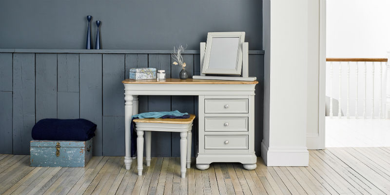 dressing table in blue painted bedroom