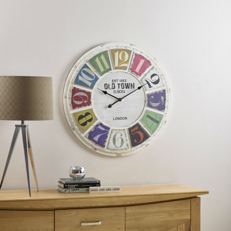 Multi coloured wall clock