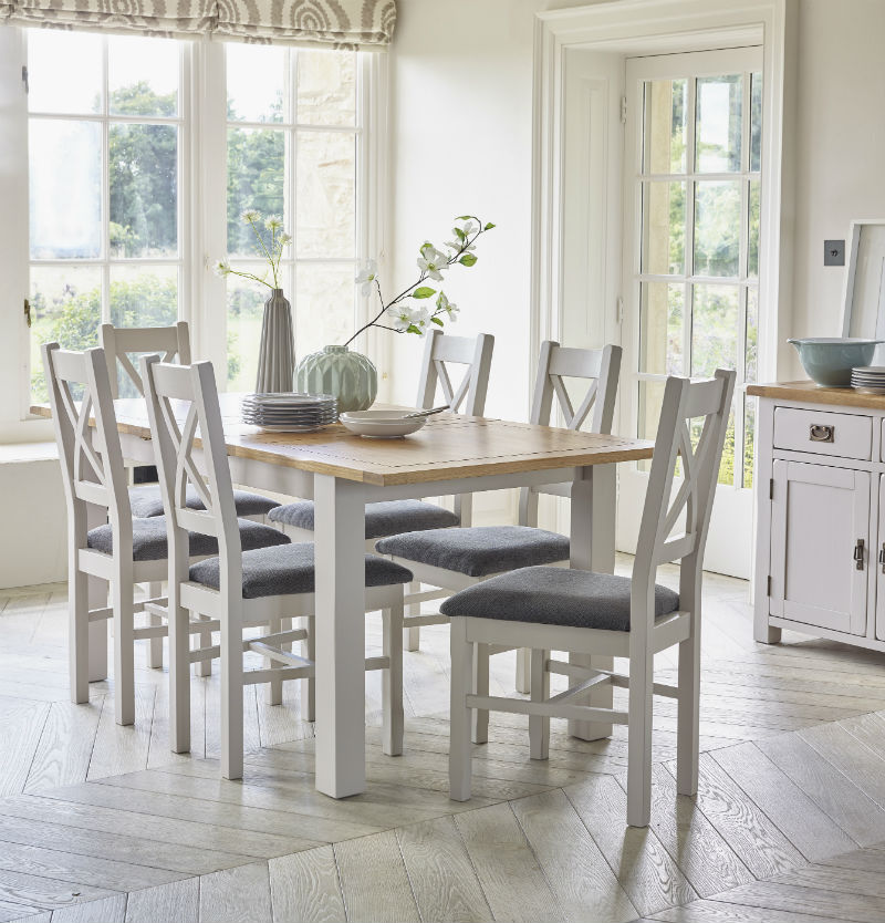 White painted dining room table and chairs
