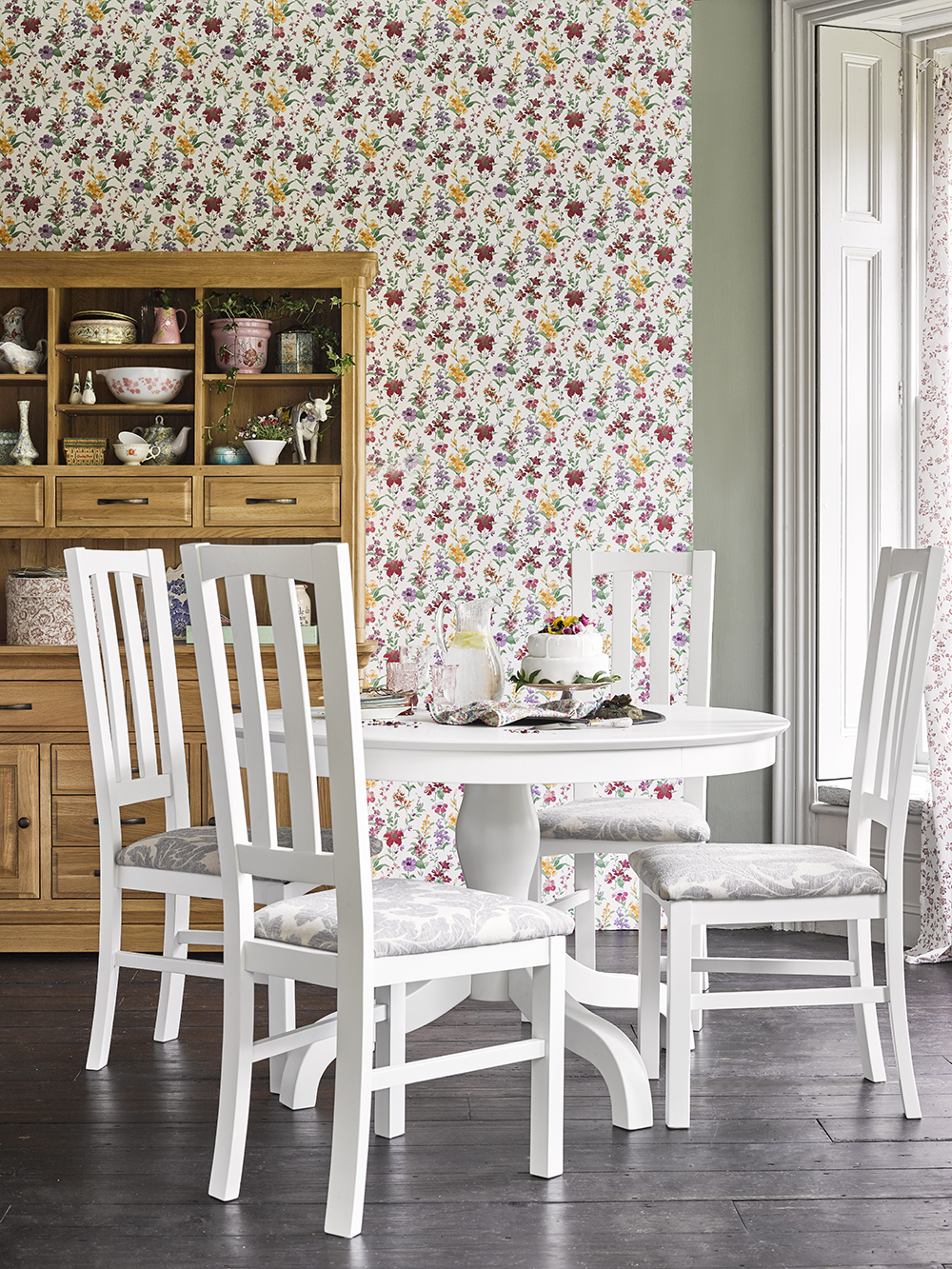 white painted dining table and chairs set