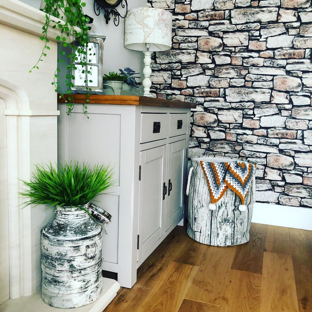 Grey painted sideboard in kitchen