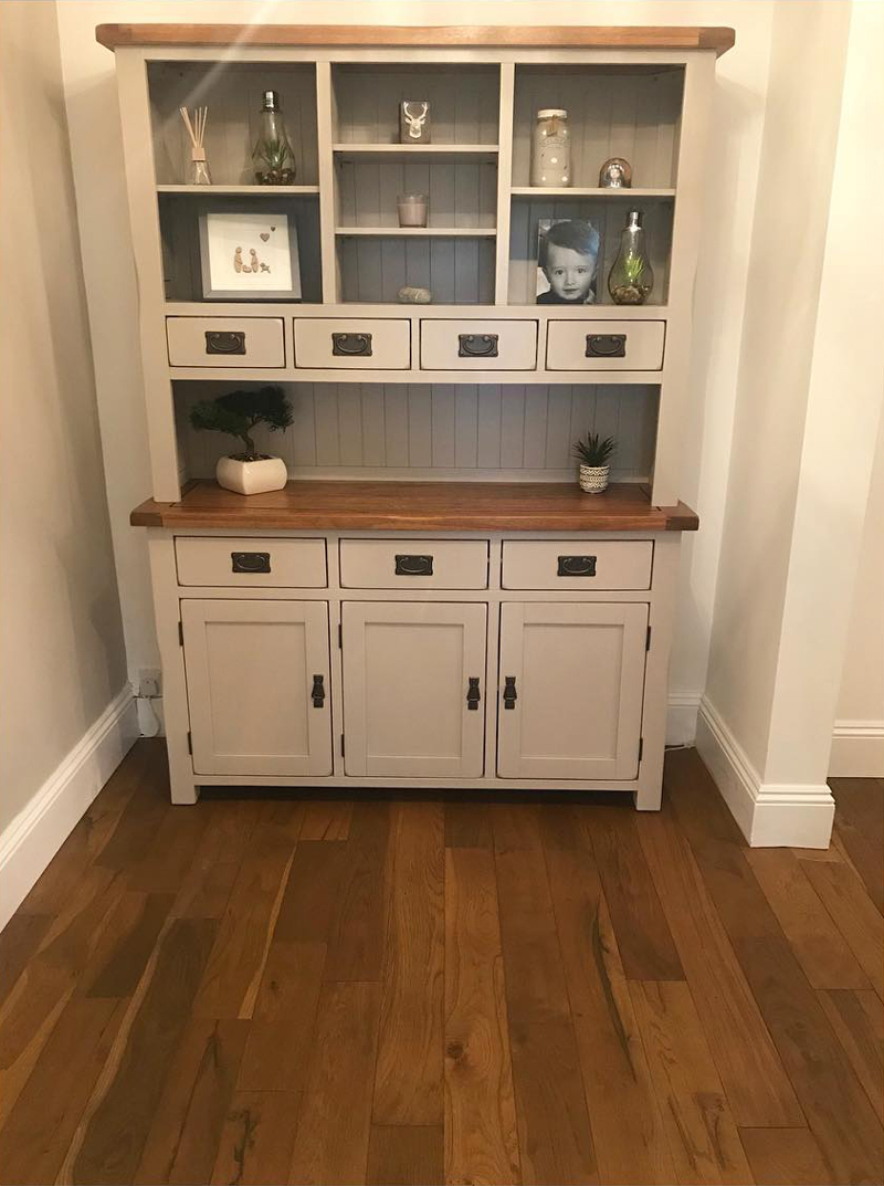 Grey painted kitchen hutch