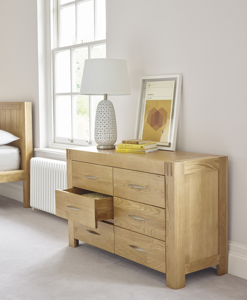 Chest of drawers with mustard yellow accessories