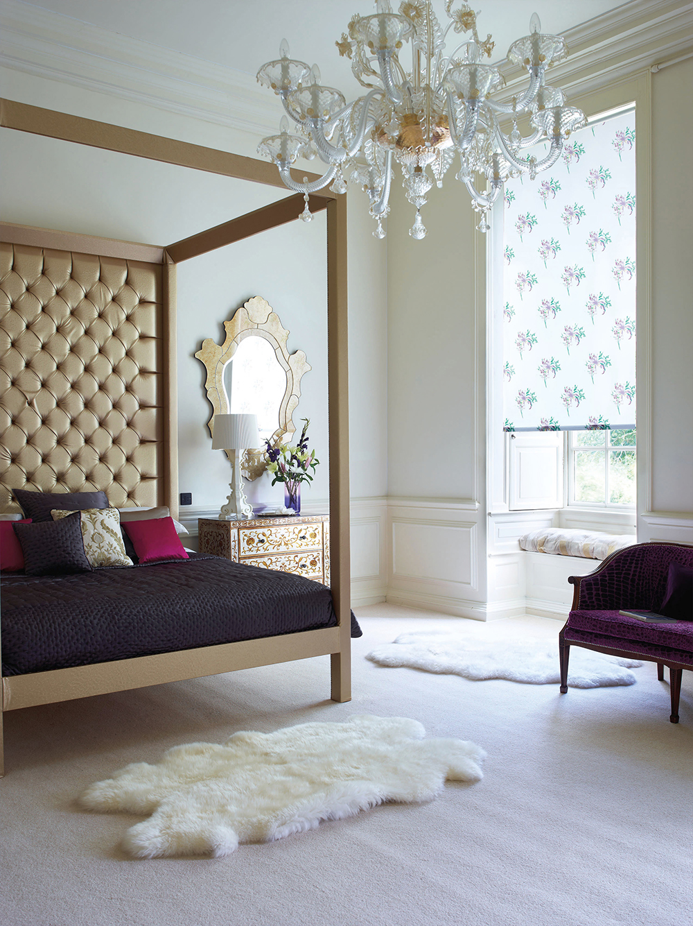 luxurious bedroom with four poster bed