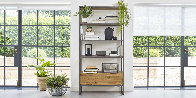 industrial style metal and oak bookcase