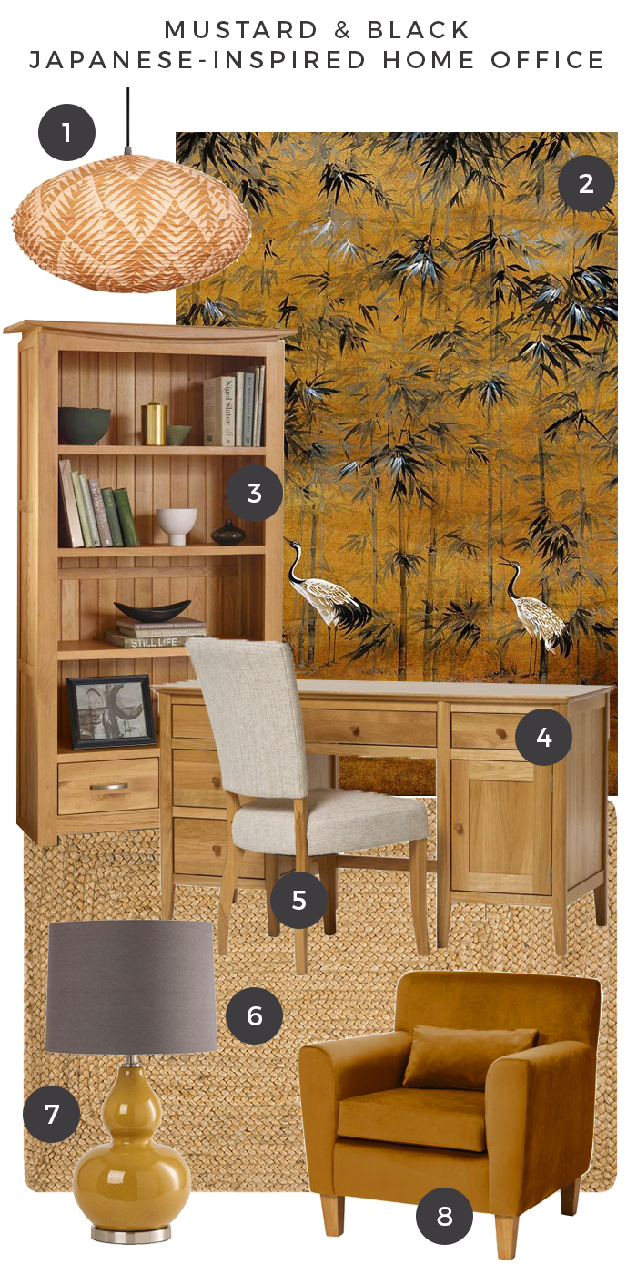 Mustard and Black Home Office moodboard