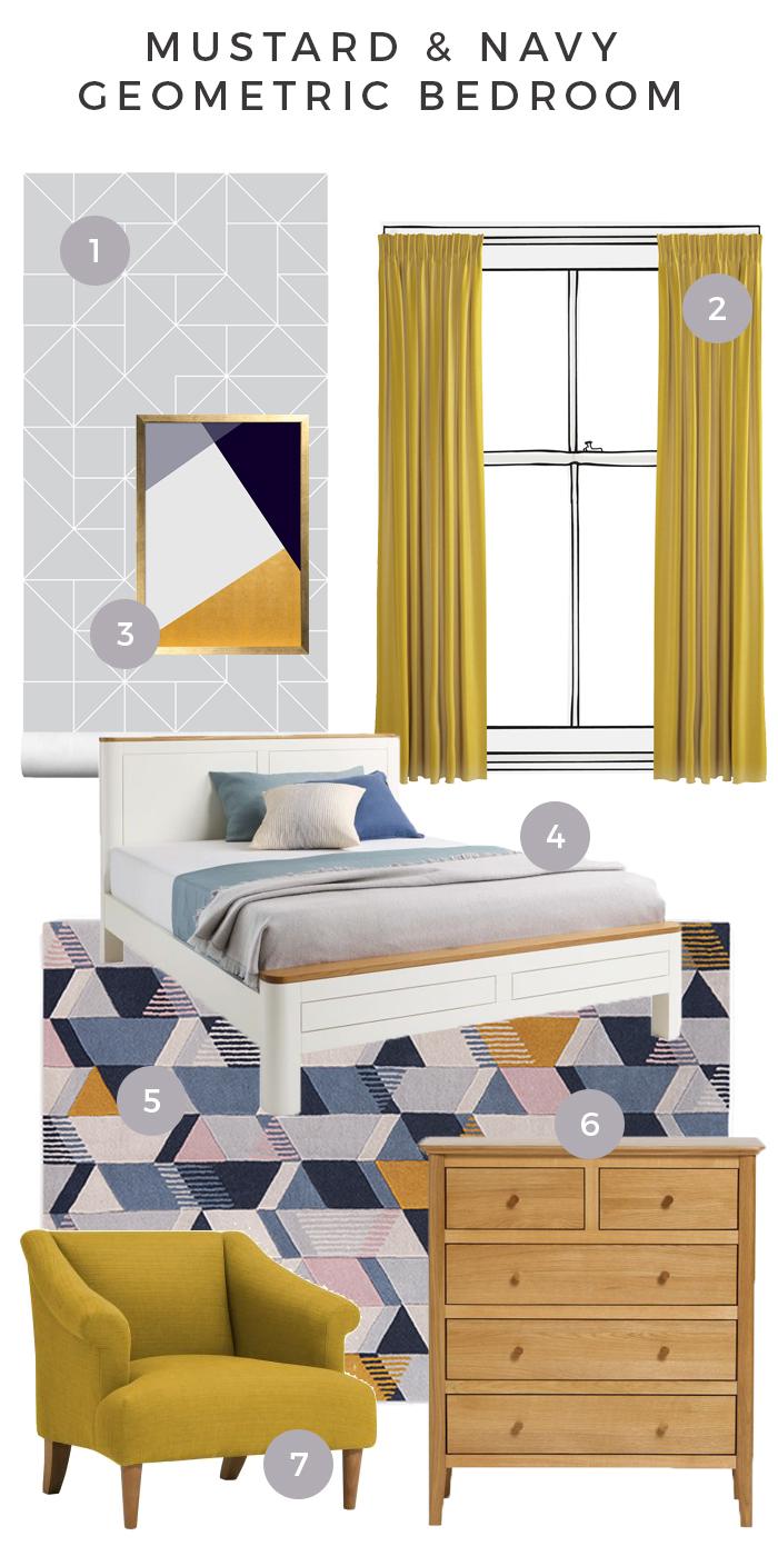 Mustard and Navy Bedroom moodboard