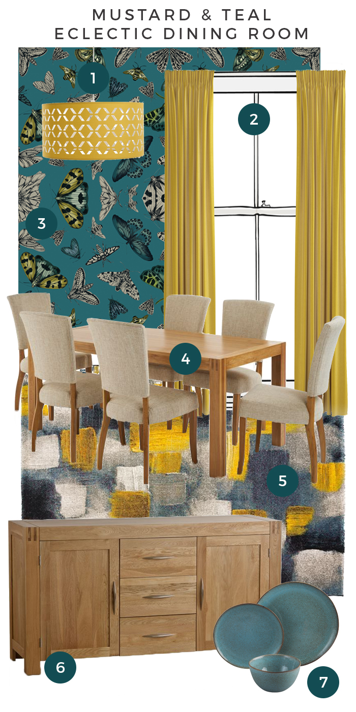 Mustard and Teal Dining Room