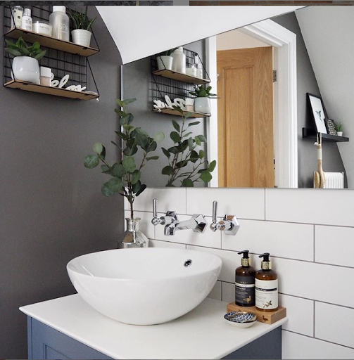 grey themed bathroom with white sink