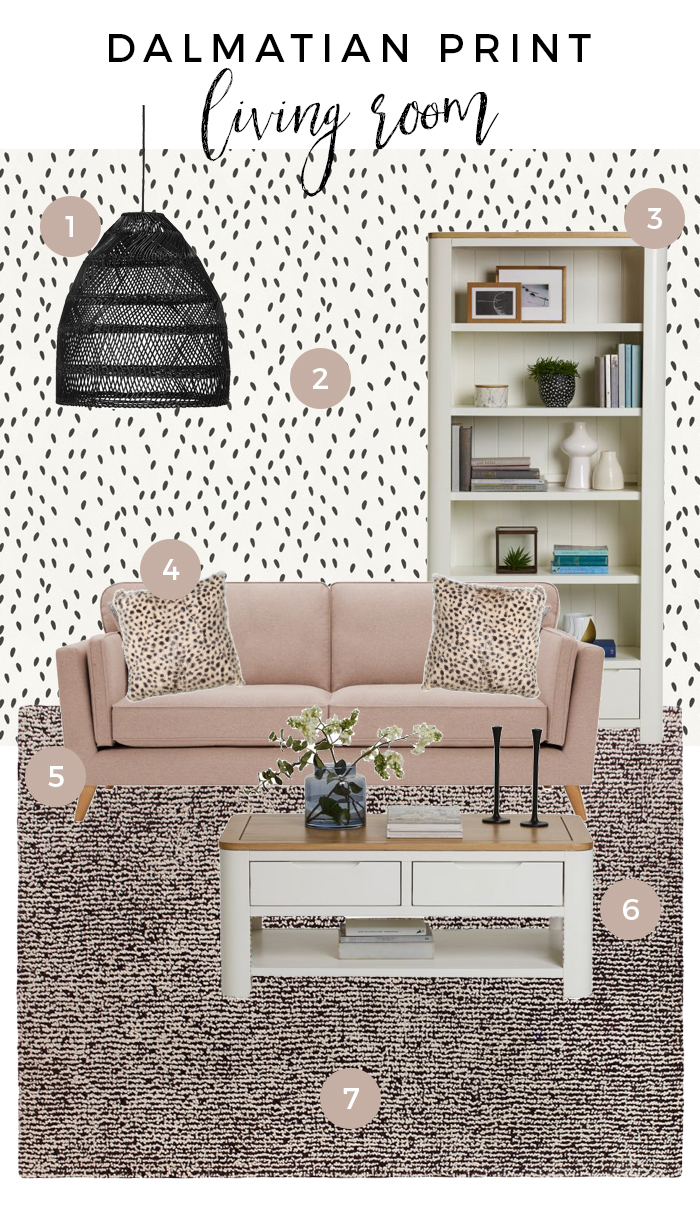 Dalmation Print Living Room Moodboard
