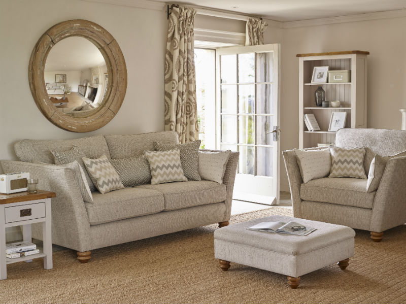 Beige living area with matching 3 piece suite