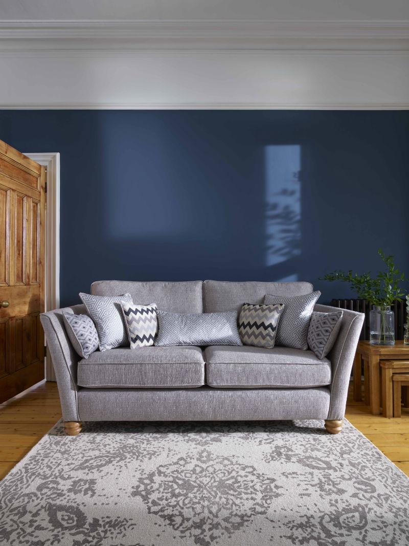 Grey gainsborough sofa in blue living room