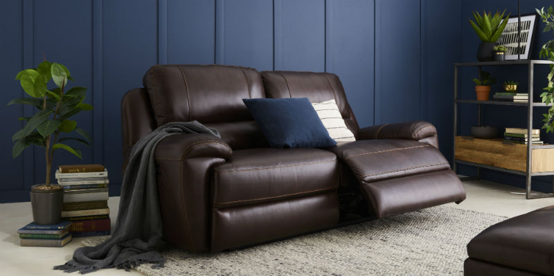 Chocolate brown leather reclining sofa