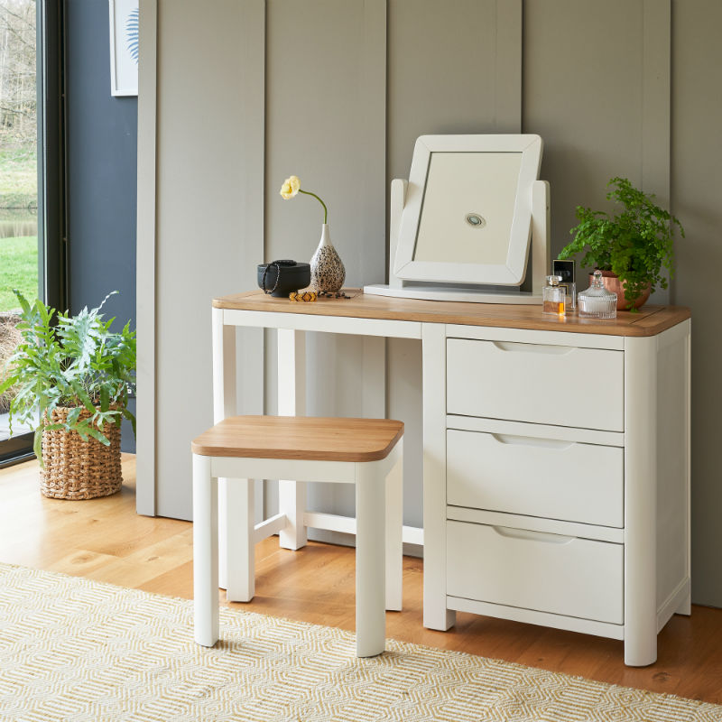 White modern dressing table and stool