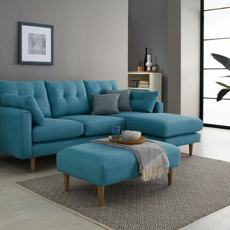 Sea foam blue fabric corner sofa