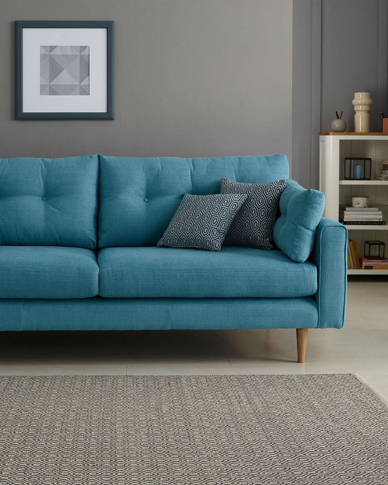 Modern Blue Fabric Sofa