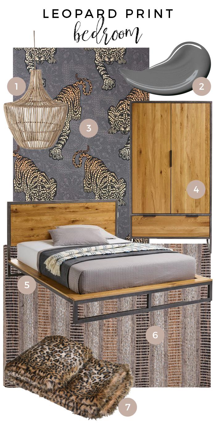 Leopard Print Bedroom Moodboard