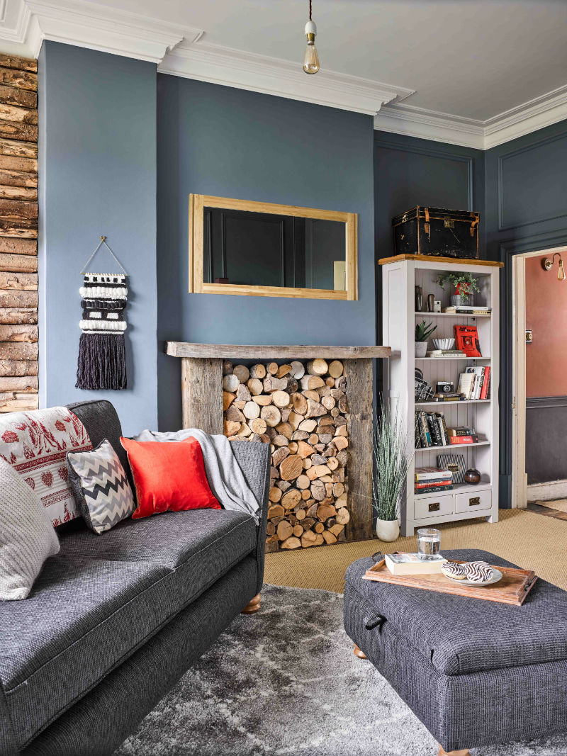 Grey themed cosy living room with charcoal sofa