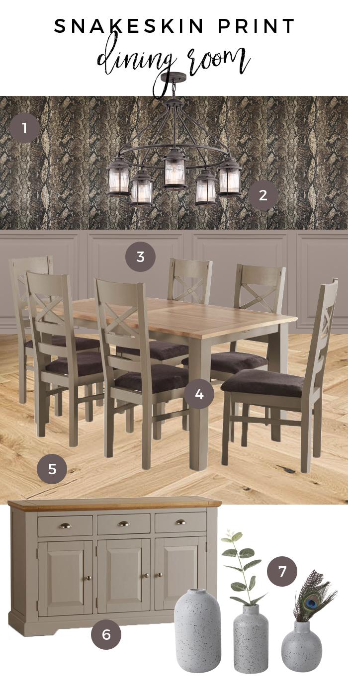 Snakeskin Print Dining Room Moodboard