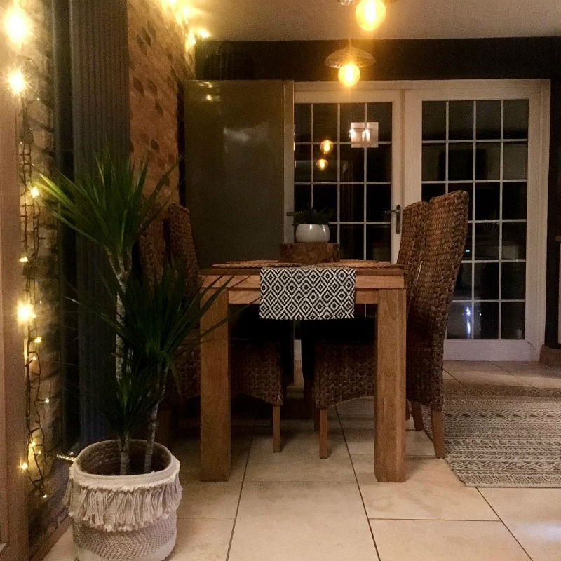 bohemian style mango oak dining table and grass chairs
