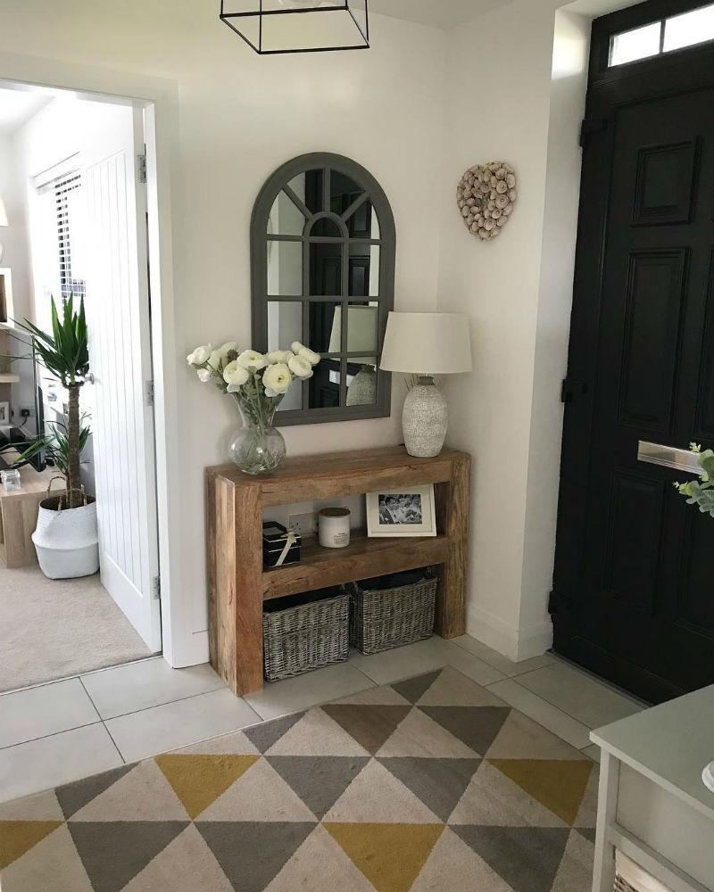 Modern mango oak console table in hallway