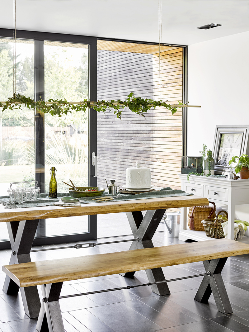 Industrial Table in Botanical Kitchen