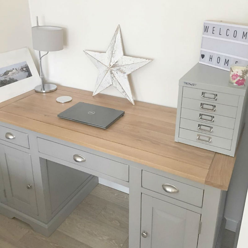 grey painted traditional office desk