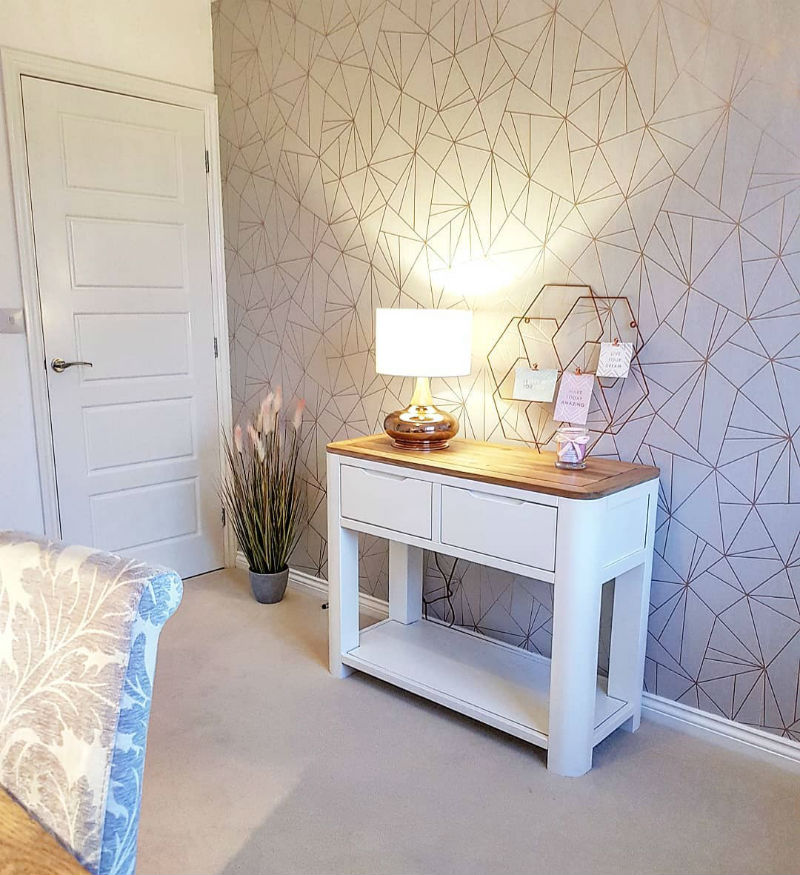 White and oak console table in modern room