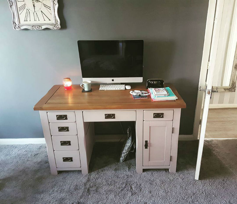 grey traditional computer desk in grey home office
