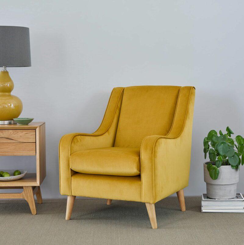 Orbit yellow accent chair