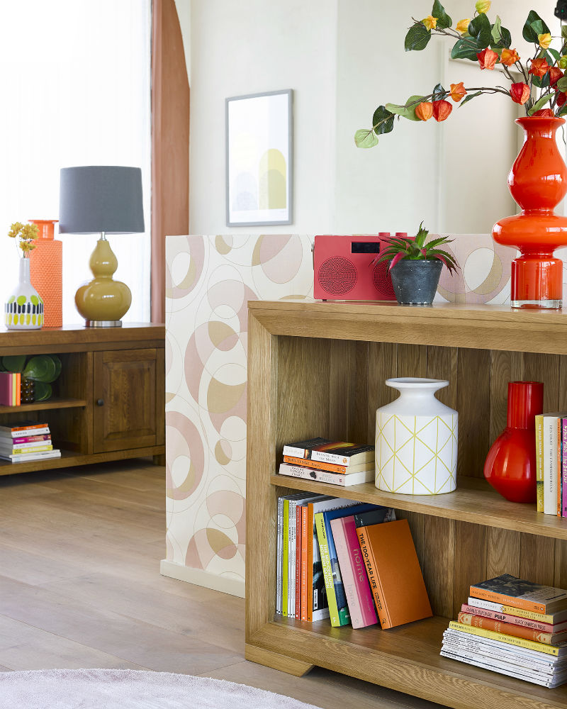 retro themed living room with oak small bookcase