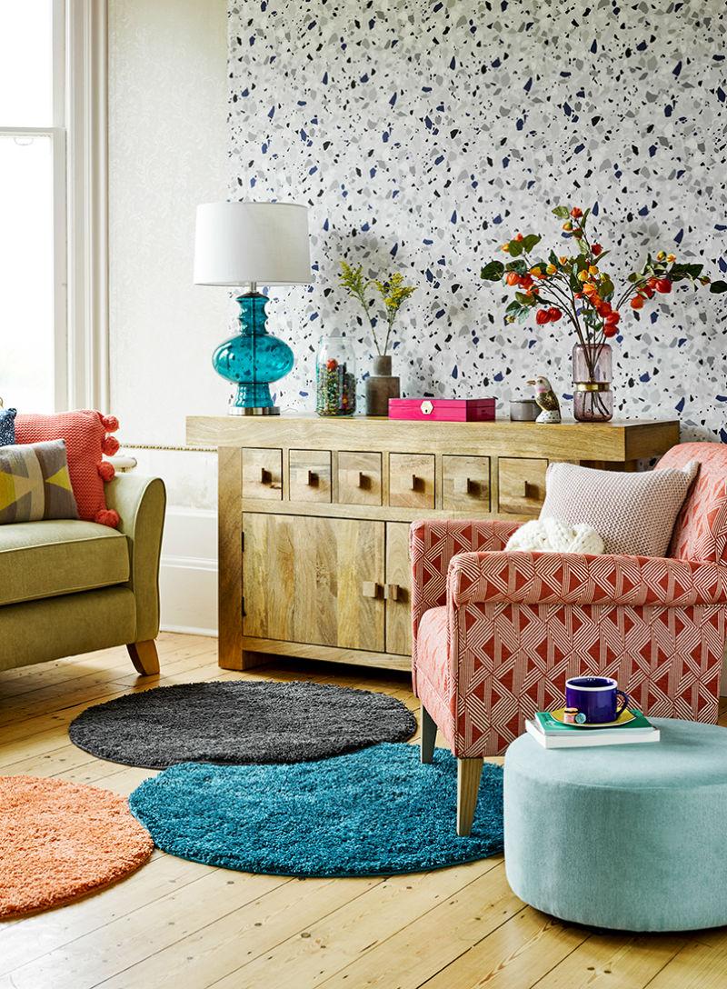 Mango wood sideboard in terrazzo style living room