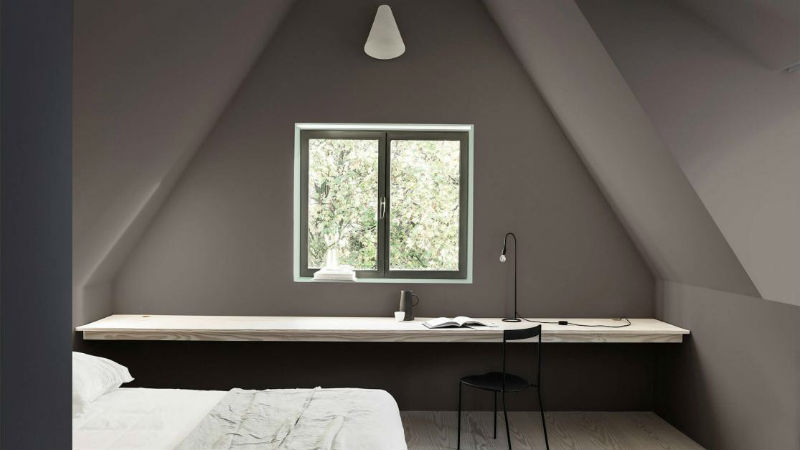 grey minimal loft conversion bedroom