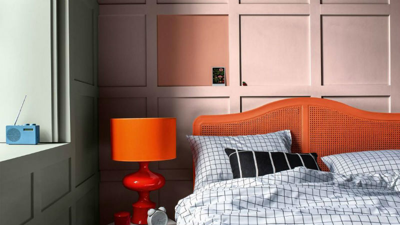 pink and orange themed bedroom