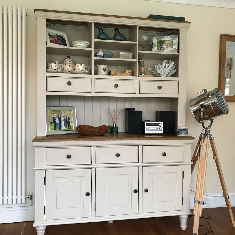 large white welsh dresser in kitchen